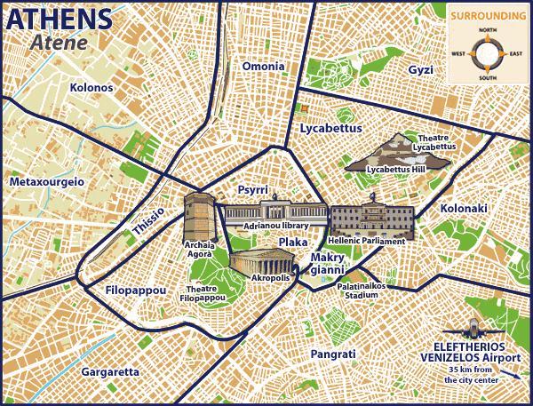 Karta Aten.Aten Narheten Karta Aten Karta Stadsdelar Grekland