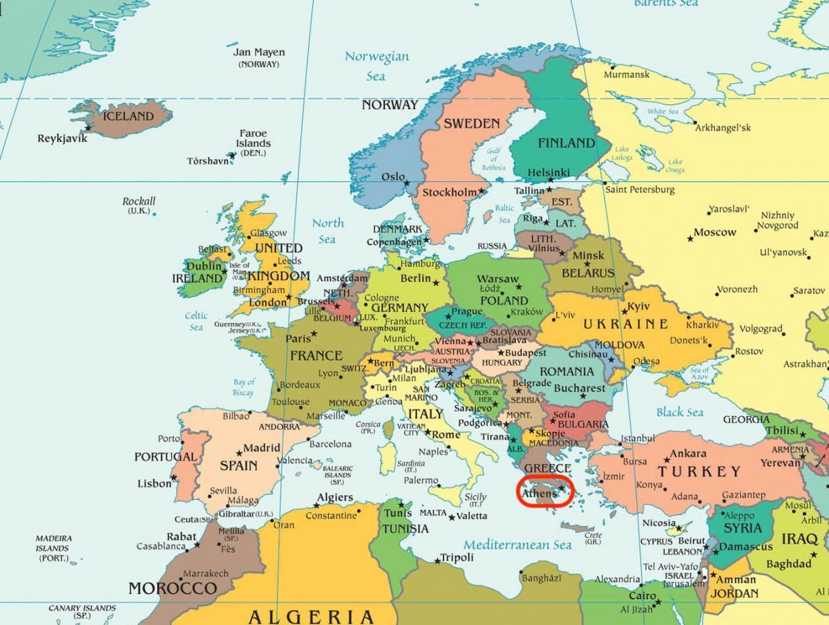 Karta Aten Grekland.Aten Karta Europa Karta Over Aten Karta Europa Grekland