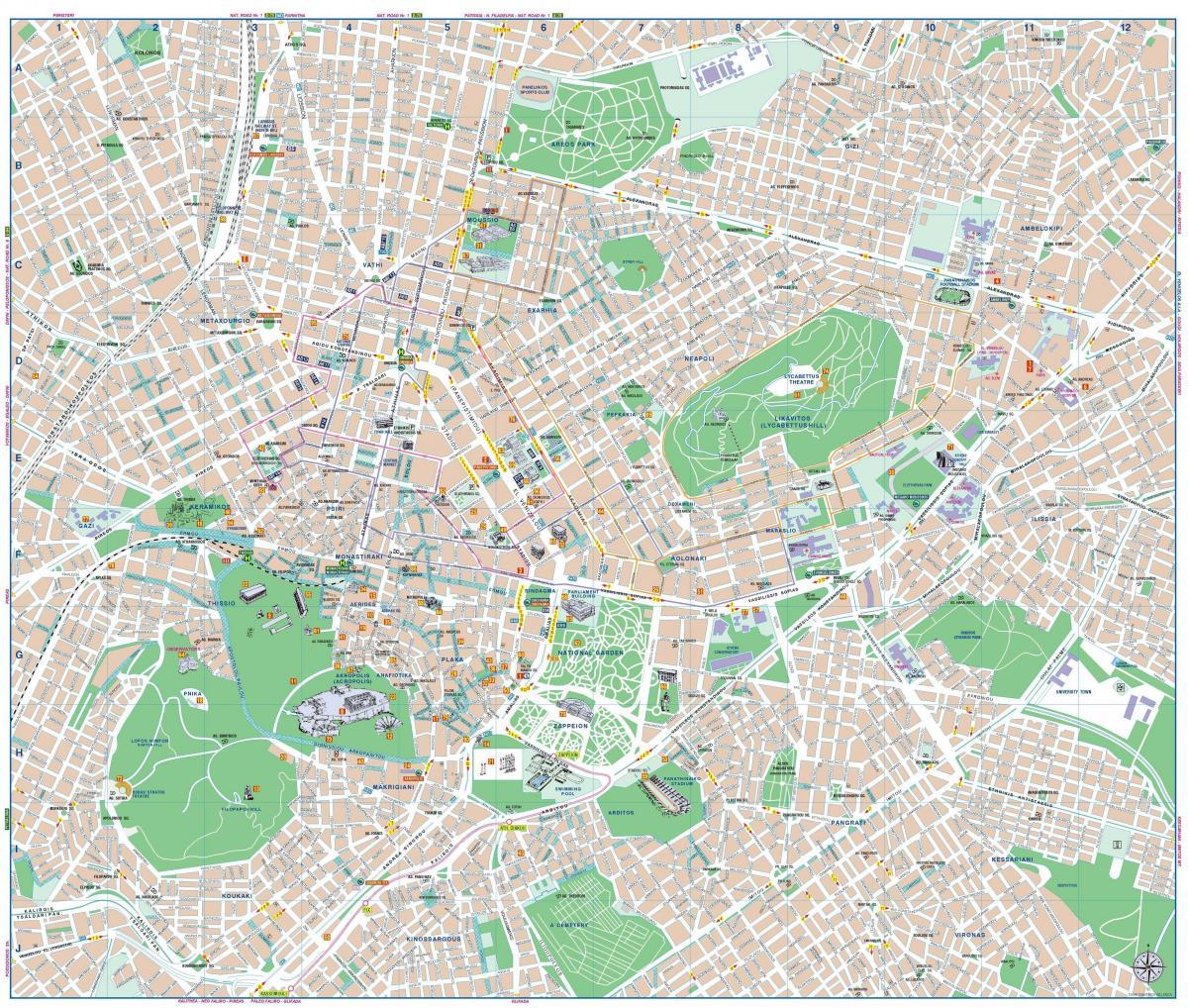 Karta Aten Grekland.Centrala Aten Karta Aten Grekland City Center Karta Grekland